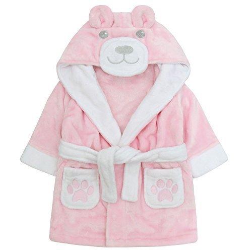 Baby Bademantel super weich Plüsch Fleece von 6 Monate bis 18 Monate Junge oder Mädchen - Rosa, 18-24 Monate