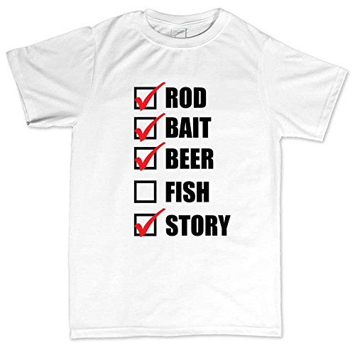 Rod Bait Fish Fishing Funny T-shirt Weiß