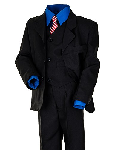 6tlg. Kinder Fest Anzug Kommunionsanzug Smoking Jungen Kinderanzug extra Hemd #18hbl Hemd Blau Gr. 12 / 140 / 146 (Blaues Anzug, Hemd Schwarzen)