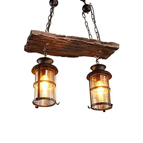Retro Holz Pendelleuchte Vintage Schwarz Eisen und Glas Lampenschirm Hängelampe für Wohnzimmer Bar Loft E27 * 2 Kronleuchter Rustikal Industriell Hänge Leuchter Höhenverstellbar (21,7 * 39,4 Zoll) -