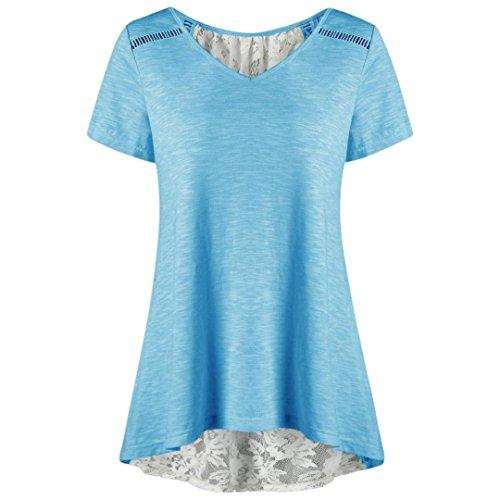 TEBAISE Mid Season Fashion Frauen Tägliche Home Party Schlank Yoga Anzug Lässige Verband Spitze Patchwork V-Ausschnitt Kurzarm Bluse T-Shirt Top(Blau,EU-42/CN-XL) (Anzug Bestickt Fussball)