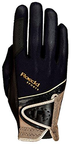 Roeckl Sports Handschuh Madrid, Unisex Reithandschuh, Schwarz/Gold, Größe 9,5