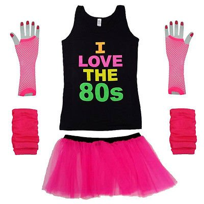 I Love The 80s Vest Top with Tutu Skirt and Accessories - Sizes 8 to 16