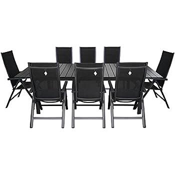 Gartentisch ausziehbar polywood  Amazon.de: 9tlg. Gartengarnitur Aluminium Gartentisch ausziehbar ...