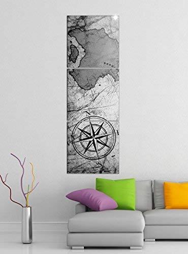 Leinwandbild 3tlg Karte Schatzkarte alte Weltkarte schwarz weiß Bilder Druck auf Leinwand Vertikal Bild Kunstdruck mehrteilig Holz 9YA5150, Vertikal Größe:Gesamt 40x120cm