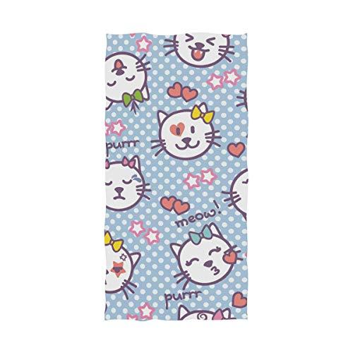 Ahomy Toalla de baño de algodón Suave Absorbente con diseño de Gato y Lunares, Toalla de baño Grande para Hombres, Mujeres y niños