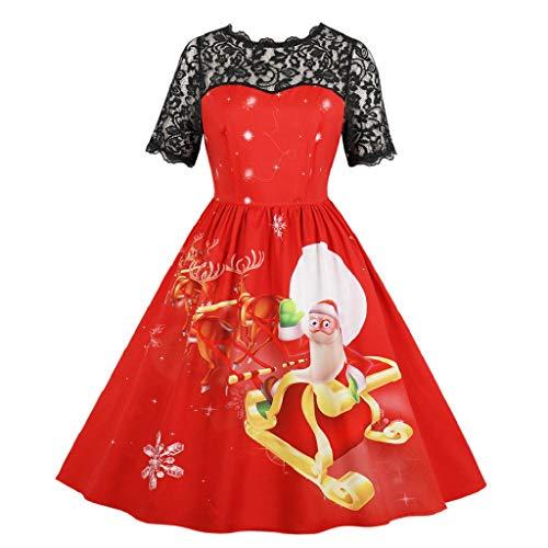 Luckycat Damen Weihnachten Weihnachten Spitze Kurzarm Abend Party Dress Swing Dress Abendkleider Cocktailkleid Partykleider Blusenkleid Mode 2018