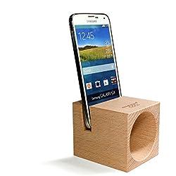 Ecophonic - Altavoz ecológico, modelo UNO Universal, fabricado en haya compatible con la mayoría de smartphones