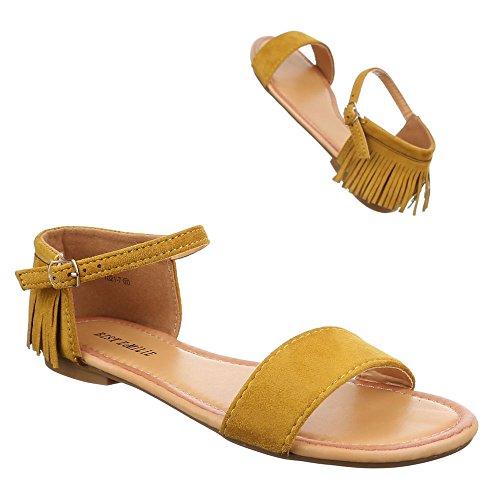 Damen Schuhe, 1021-7, SANDALEN WESTERN STYLE FRANSEN Gelb
