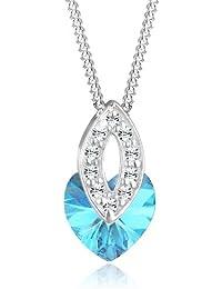 Elli Damen-Kette mit Anhänger Herz 925 Sterling Silber Swarovski Kristall blau Brillantschliff 0106961312_45