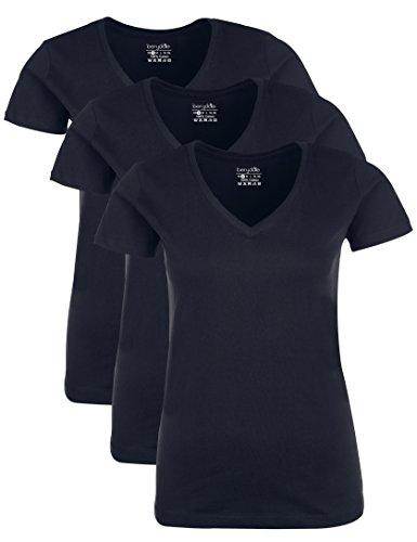 Berydale Damen T-Shirt mit V-Ausschnitt, 3er Pack, Dunkelblau, XS