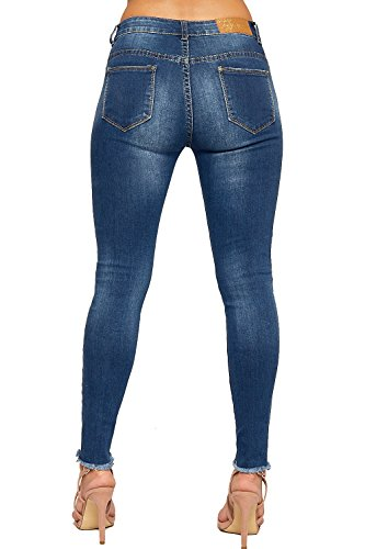 WEARALL - Femmes Perle Embellie Ripped Affligé Poche Dames Maigre Jambe Toile De Jean Jeans - 34-42 Bleu
