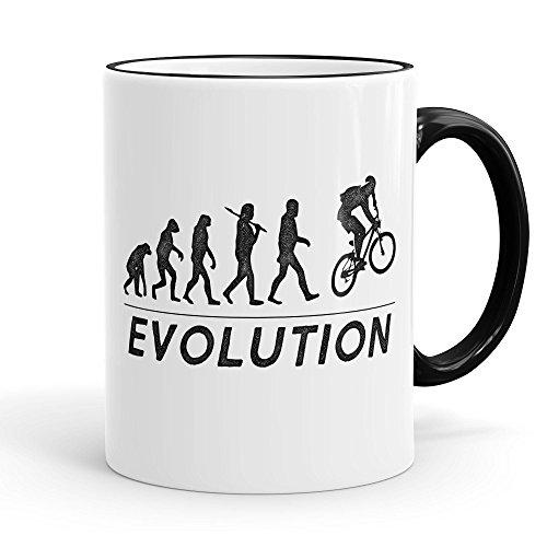 Funtasstic Tasse Evolution MTB - Kaffeepott Kaffeebecher 375 ml, Farbe:schwarz