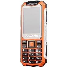 "Teléfono Móvil Libre,VKworld V3S Móviles de teclas grandes barato con Impermeable,a prueba de golpes,a prueba de polvo Teléfono celular rugged al aire libre teléfono móvil GSM para personas mayores(2G,2.4"" Pantalla,Doble SIM,Cámara 0.3MP,Batería 2200mAh,32M+32M,radio FM,Bluetooth) - Naranja"