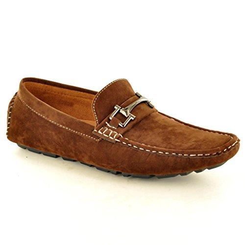 Neue Herren Wildlederimitat Casual Loafer Mokassins Slip auf Schuhe Dunkelbraun