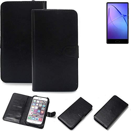K-S-Trade® Wallet Case Handyhülle Für Leagoo KIICA Mix Schutz Hülle Smartphone Flip Cover Flipstyle Tasche Schutzhülle Flipcover Slim Bumper Schwarz, 1x