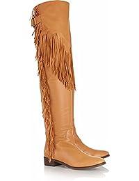L@YC Zapatos De Mujer Suede Winter Fall Comfort Botas De Moda Botas Planas De TacóN alto Con Punta Plana Borla...