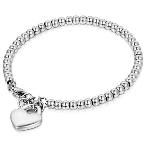 JewelryWe Schmuck Charme Damen Kugel Perlen Armband,Handgelenk Kugel Perlenkette mit solid Herz Anhänger Herzkette, Edelstahl Armreif, Silber