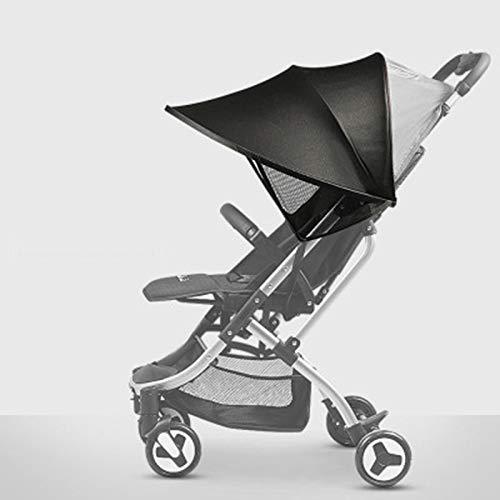 Protector Solar Universal-Baby Capota para buggy & cochecito   XL de Pop Up Toldo con protección ultravioleta 40+ y funda-Gris azul negro