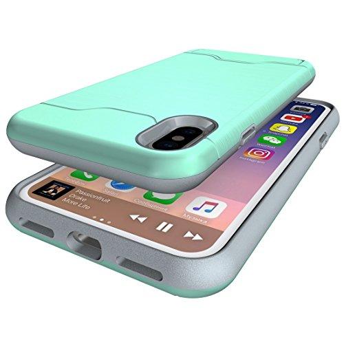 GR iPhone 8 Cover Case-Brushed Texture Schutzhülle mit Halter und Kartenfach, kleine Menge empfohlen, bevor das iPhone 8 startet ( Color : Green ) Green