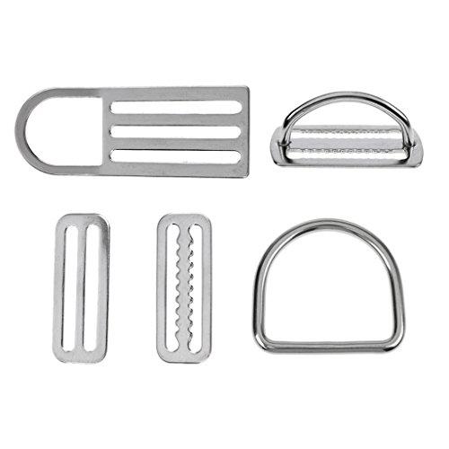 Gazechimp 5-teiliges Pack - Edelstahl Unisex Tauchen Bleigürtel Schnallen D Ringe, Gürtelschnalle