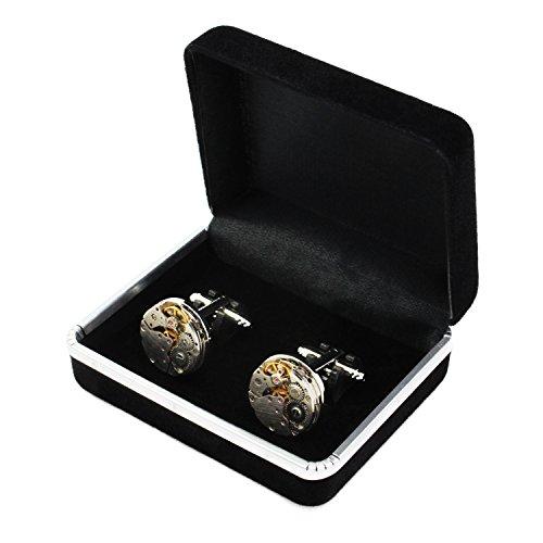 KEESIN Männer Vintage Uhr Bewegung Form Manschettenknöpfe Edelstahl Steampunk Getriebe Uhr Mechanismus Hemden Manschettenknöpfe (Französisch-stil-shirt-form)