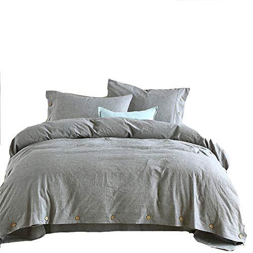 JASONN Button Bettwäsche Set von Vier, Leinen warmen Winter und kühlen Sommer Bettwäsche Bettbezug Blatt Set,Gray,1.5/1.8mbed