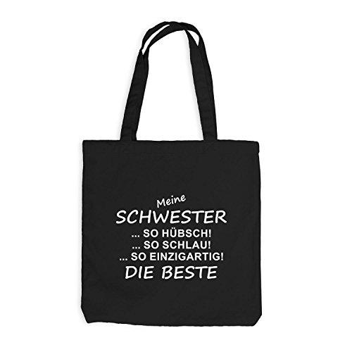 Jutebeutel - Meine Schwester - Die Beste - Sister Spaßmotiv Fun Schwarz