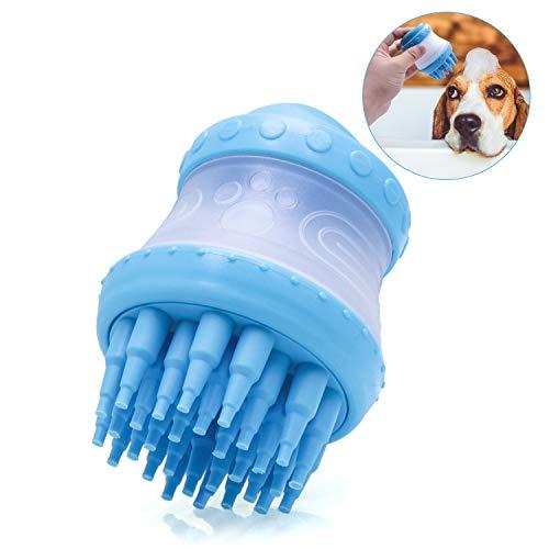 FRETOD Silikon Haustier Bad Massagebürste Mit Eingebautem Shampoo Badbürste Für Hund Katzen