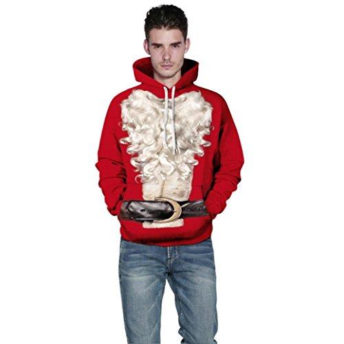 Unisex Kapuzenpullover Übergröße Mumuj Paar Weihnachten Xmas 3D Santa Bedrucktes Sweatshirt Damen Pullover Herren Hoodies Tops Lose Sport Fitness Kapuzenpullover