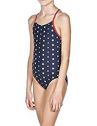 Arena Chica Puntos–Bañador, niña, Badeanzug Punkte, Azul marino y rojo, 6 años (116 cm)