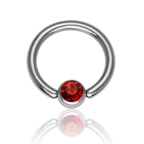 eeddoo Piercing-Ring Klemmring Kristall Silber glänzend Titan Durchmesser: 8 mm Rot 3 mm