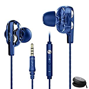 pTron Boom Ultima 4D Dual Driver, in-Ear Gaming Wired Headphones with in-line Mic, Volume Control & Passive Noise Cancelling Boom 3 Earphones - (Dark Blue)