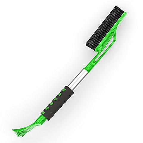 AUPROTEC 2in1 Schneebesen mit Eiskratzer XXL Extra lange 72cm mit großer Schneebürste, breitem Schaber und Komfort Softgriff (Grüne Scraper)