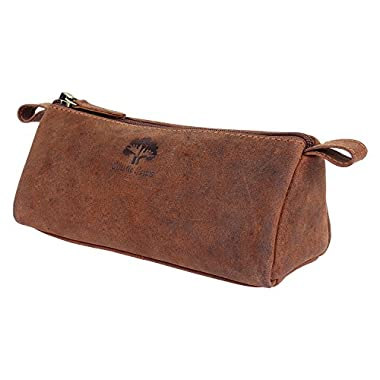 Leather Pencil Case – Handmade Zippered Pen Pouch for School, Work & Office by Rustic Town