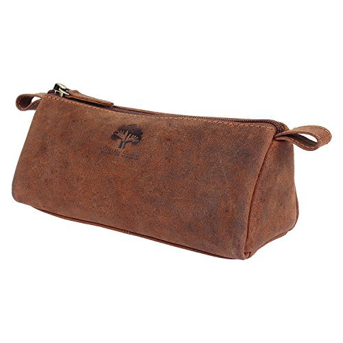 - 413VDclgb6L - Handmade Traditional Genuine Leather Pen Pencil Bag for Students School College Office Work for Men and Women with Vintage and Antique Look Gift from Indian Artists