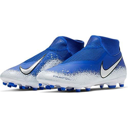 Nike Jr Phntom Vsn Academy DF Fg/MG, Scarpe da Calcetto Indoor Unisex-Bambini, Multicolore (Racer Blue/Chrome/White 000), 35.5 EU