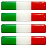 4 x Aufkleber 3D Gel Silikon Stickers Italien Italy Flagge Fahne Auto Moto Motorrad Fahrrad Skate Fenster Tür PC Tablet Laptop Tuning F 13