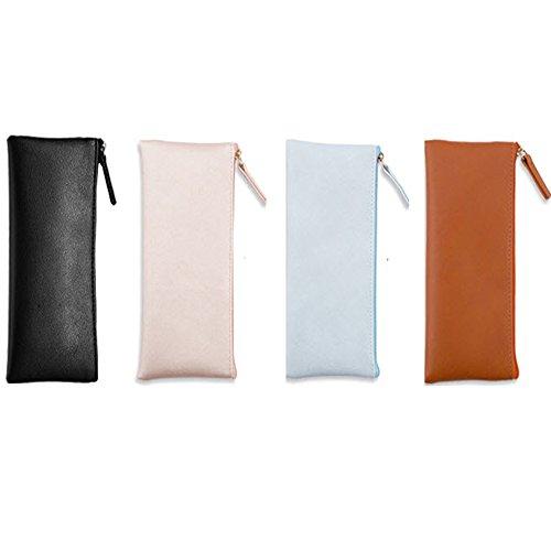 Demarkt Portable Trousse à Stylos Simple Sac en Plastique PU Sac à Crayons Sac de Toile Crayon Cosmétique Sac Trousses Scolaire,Ensemble de 4(Bright Rose + Orange + Bleu Clair + Noir)★☆