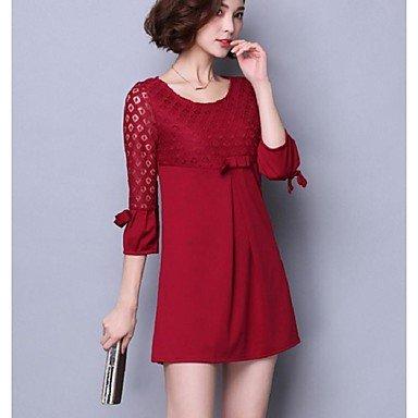 PU&PU Robe Aux femmes Ample Chic de Rue,Couleur Pleine Col Arrondi Au dessus du genou Polyester RED-L