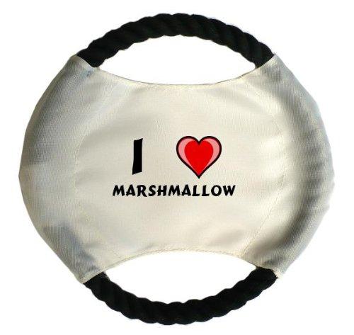 Personalisierter Hundefrisbee mit Aufschrift Ich liebe Marshmallow (Vorname/Zuname/Spitzname)