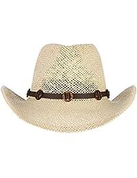 Sombrero De Paja Neto De Los Hombres Protección Cómodo Sombrero para El Sol  Sombrero Occidental Sombrero d1a4648150d