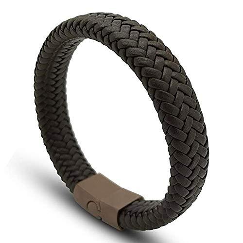 Armband Herren Damen Schwarz und Braun Magnetisch Edelstahl. Armreifen Männer Frauen Galeara design RIX series (Braun, 205)