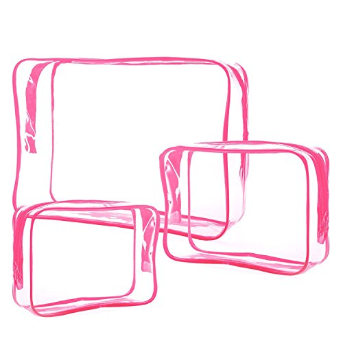 LAAT - Astuccio per trucco e cosmetici, impermeabile, trasparente, da viaggio, set da 3 pz., rose (Rosa) - M6SV191606J3NP7164