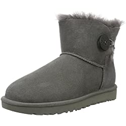 UGG Mini Bailey Button, Stivali Corti Donna, Grigio, 38 EU