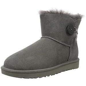 UGG Female Mini Bailey Button II Classic Boot, Grey, 9 (UK)
