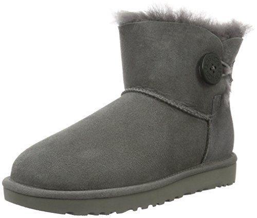 Boots Clearance Ugg Frauen (UGG Damen Mini Bailey Button Kurzschaft Stiefel, Grau (Grigio), 40 EU)