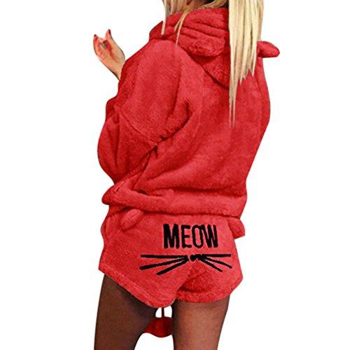 Yying Nette Katze MIAU Muster Hoodies Shorts Set Damen Korallen SAMT Anzug Zwei Stück Herbst Winter Pyjamas Warme Nachtwäsche Rot M