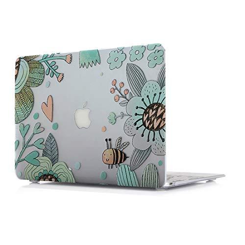 RQTX Schutzhülle für MacBook Pro Neu 13 Zoll (Retina Display) mit/Ohne Touch Bar Modell A1706/A1708 Plastik Laptop Computers Zubehör Tasche Natürlich Design Hülle Muster Biene -