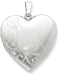 Sterling Silver Polished Holds 4 photos 24mm Scrolled Heart Family Locket